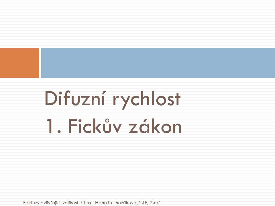 Difuzní rychlost 1. Fickův zákon