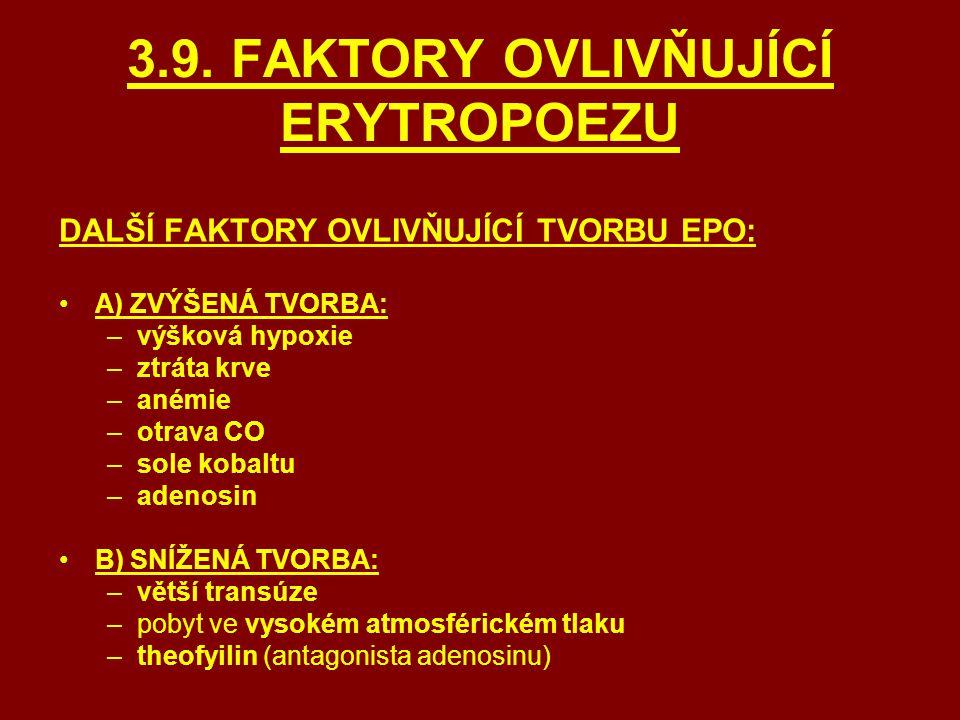 3.9. FAKTORY OVLIVŇUJÍCÍ ERYTROPOEZU