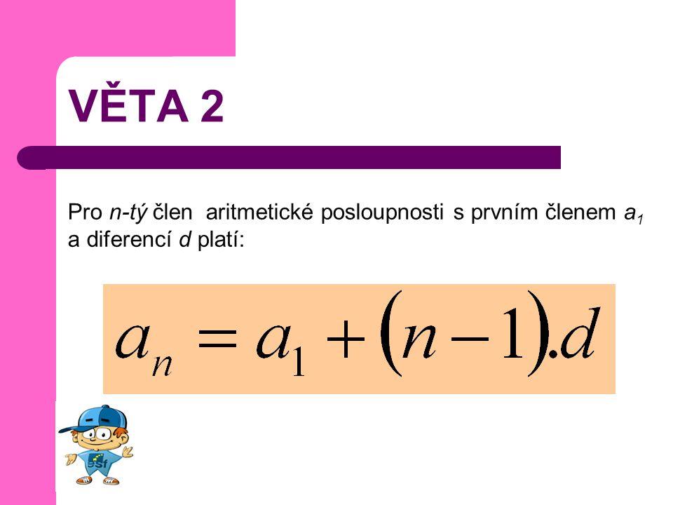 VĚTA 2 Pro n-tý člen aritmetické posloupnosti s prvním členem a1 a diferencí d platí: