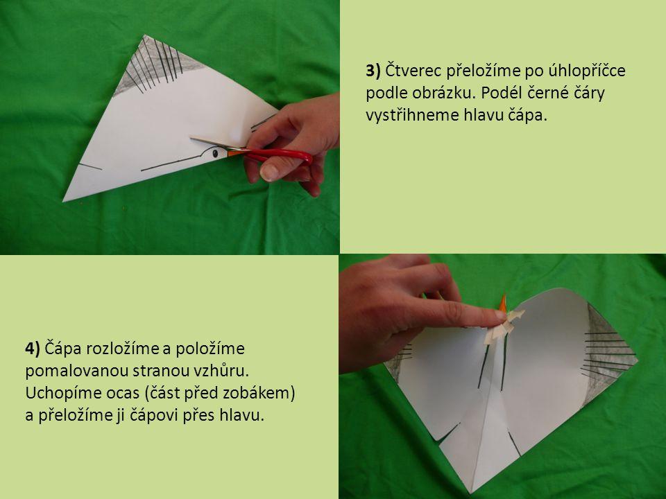 3) Čtverec přeložíme po úhlopříčce podle obrázku
