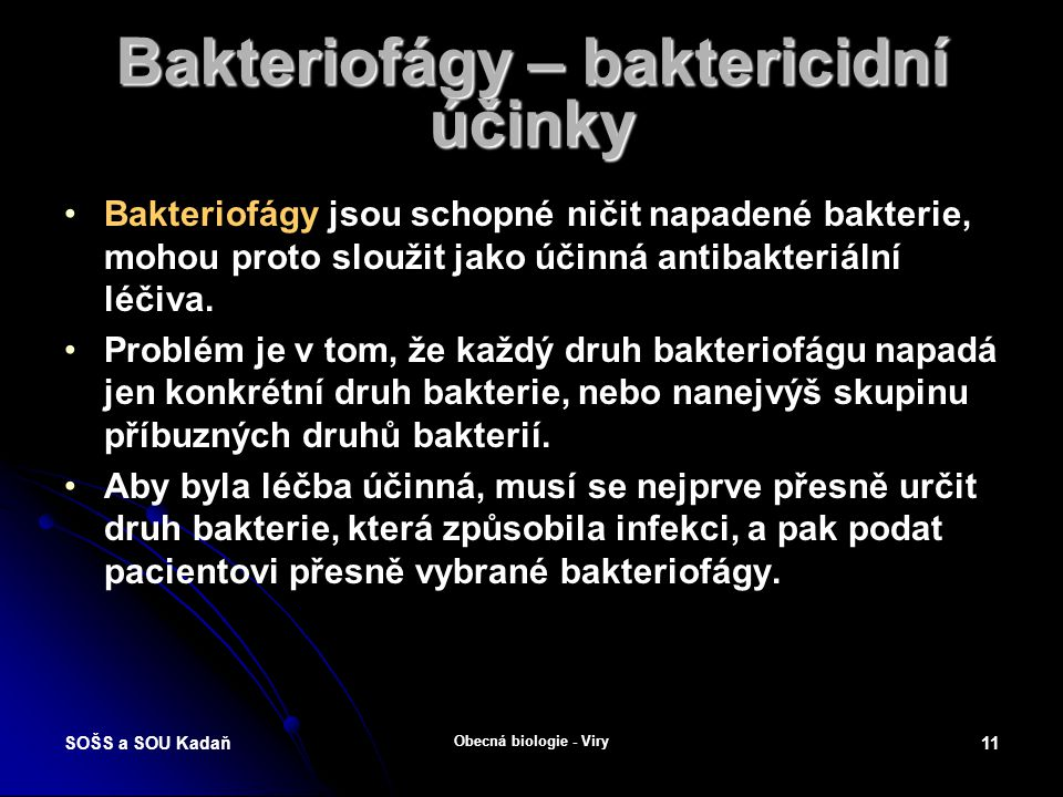Bakteriofágy – baktericidní účinky