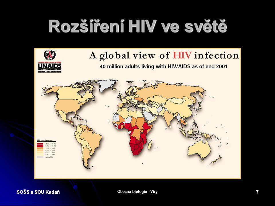 Rozšíření HIV ve světě SOŠS a SOU Kadaň Obecná biologie - Viry