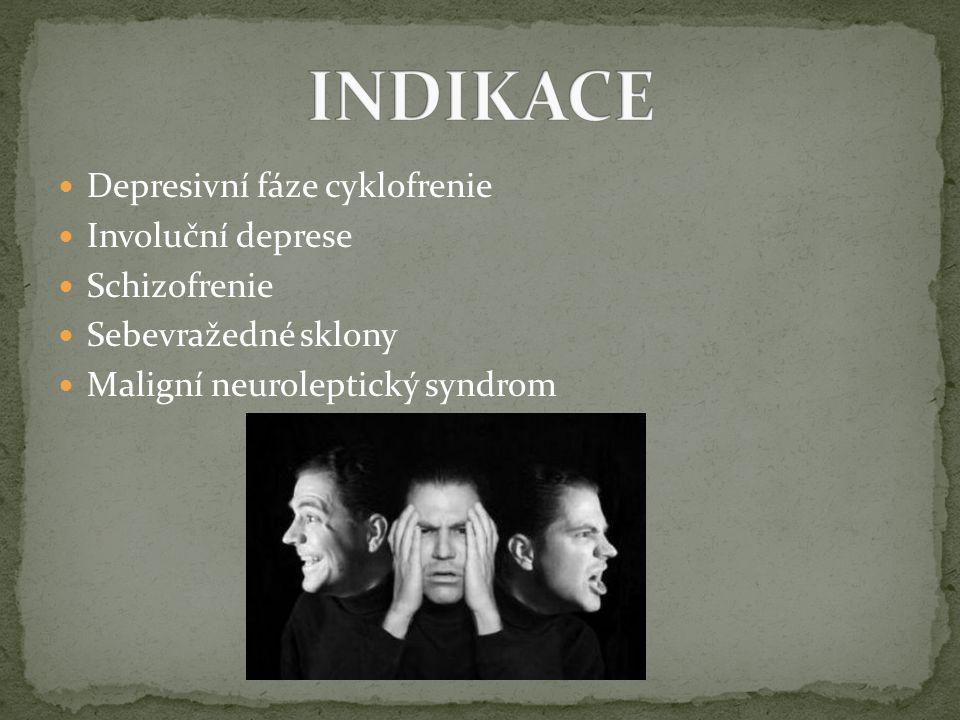 INDIKACE Depresivní fáze cyklofrenie Involuční deprese Schizofrenie