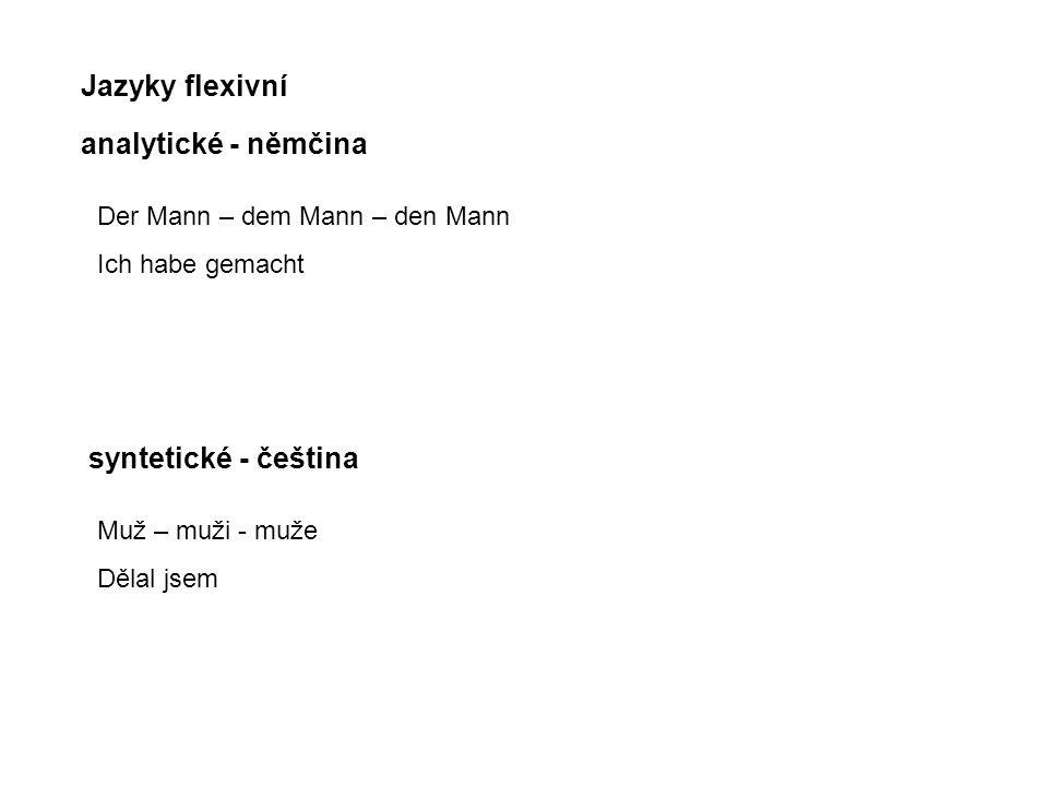 Jazyky flexivní analytické - němčina syntetické - čeština