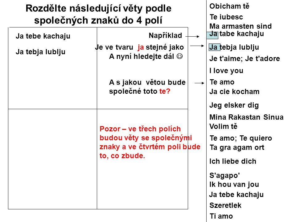 Rozdělte následující věty podle společných znaků do 4 polí