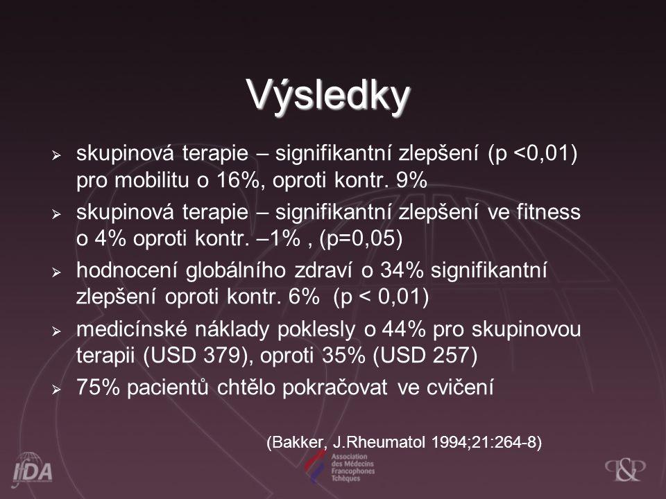 Výsledky skupinová terapie – signifikantní zlepšení (p <0,01) pro mobilitu o 16%, oproti kontr. 9%