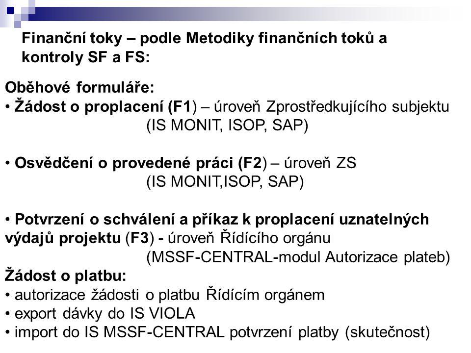 Finanční toky – podle Metodiky finančních toků a kontroly SF a FS: