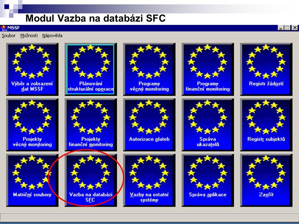 Modul Vazba na databázi SFC