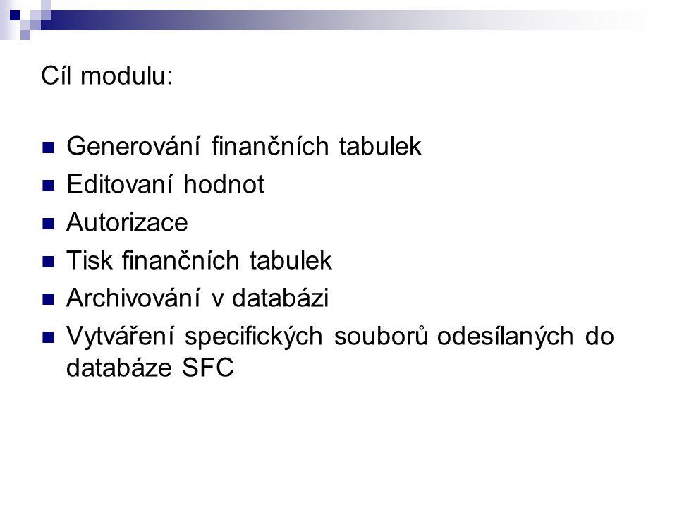 Cíl modulu: Generování finančních tabulek. Editovaní hodnot. Autorizace. Tisk finančních tabulek.