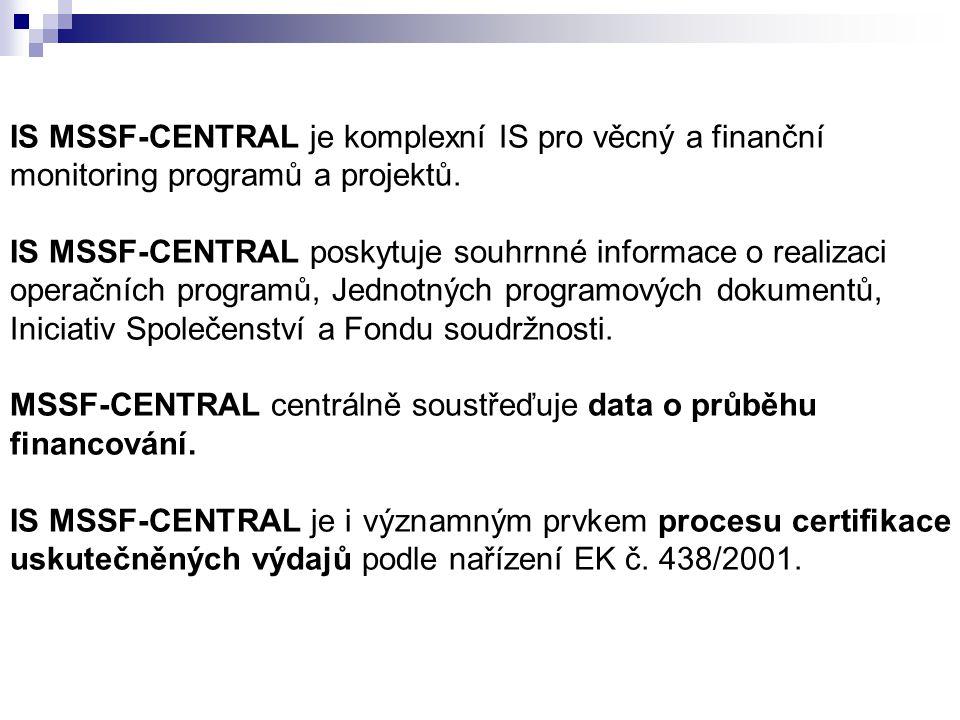 IS MSSF-CENTRAL je komplexní IS pro věcný a finanční monitoring programů a projektů.