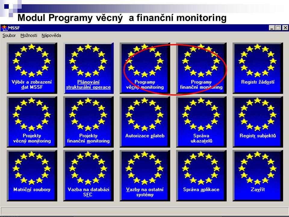 Modul Programy věcný a finanční monitoring