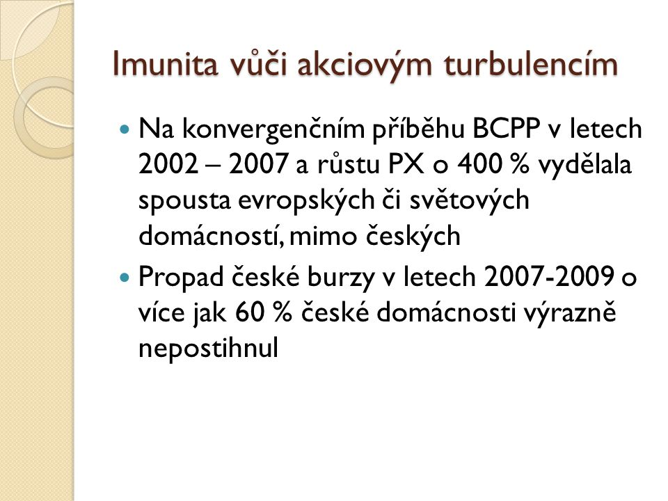 Imunita vůči akciovým turbulencím