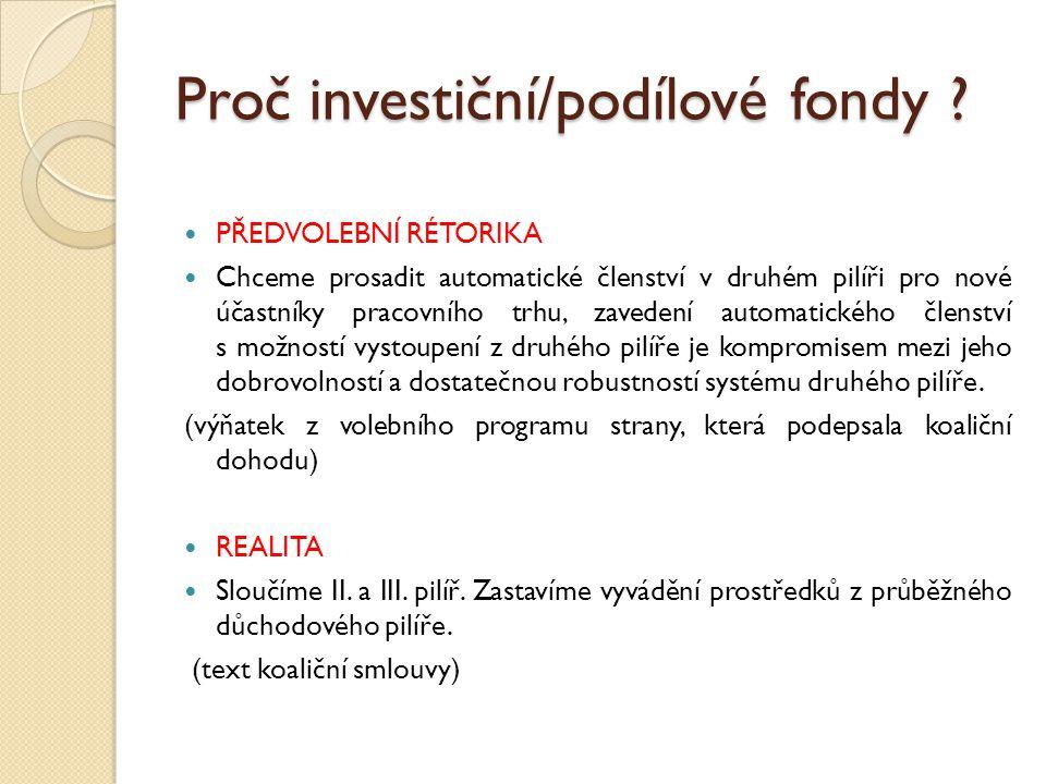 Proč investiční/podílové fondy