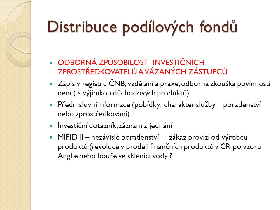 Distribuce podílových fondů