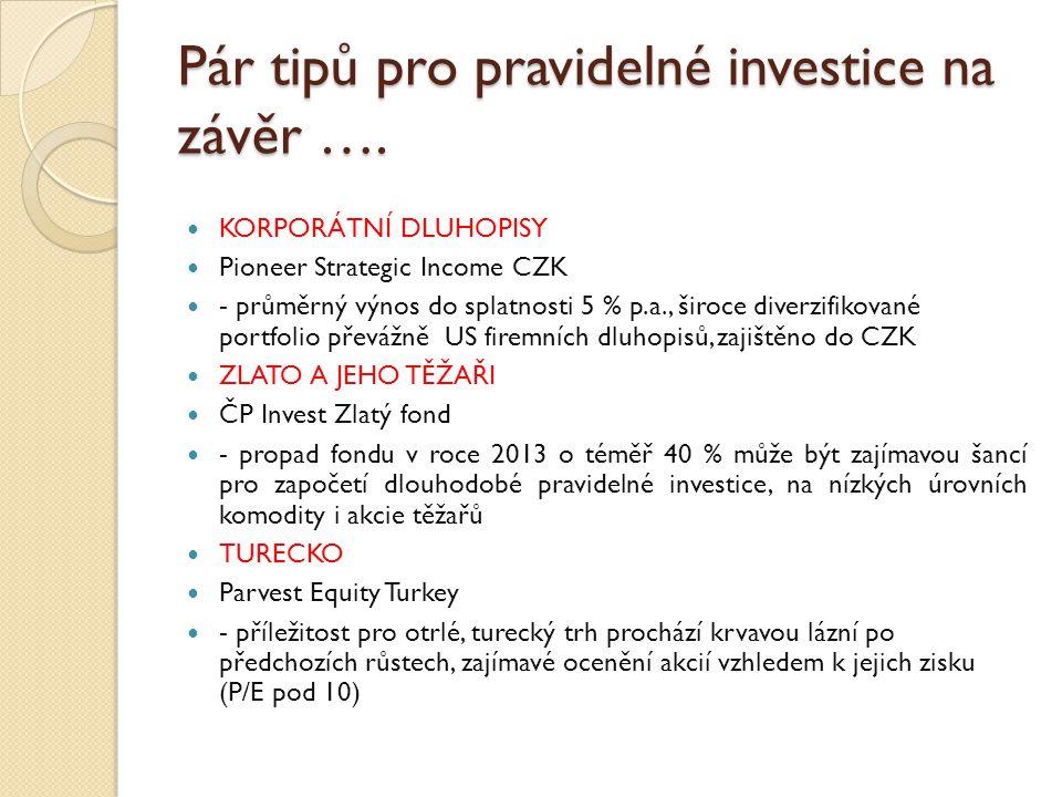 Pár tipů pro pravidelné investice na závěr ….