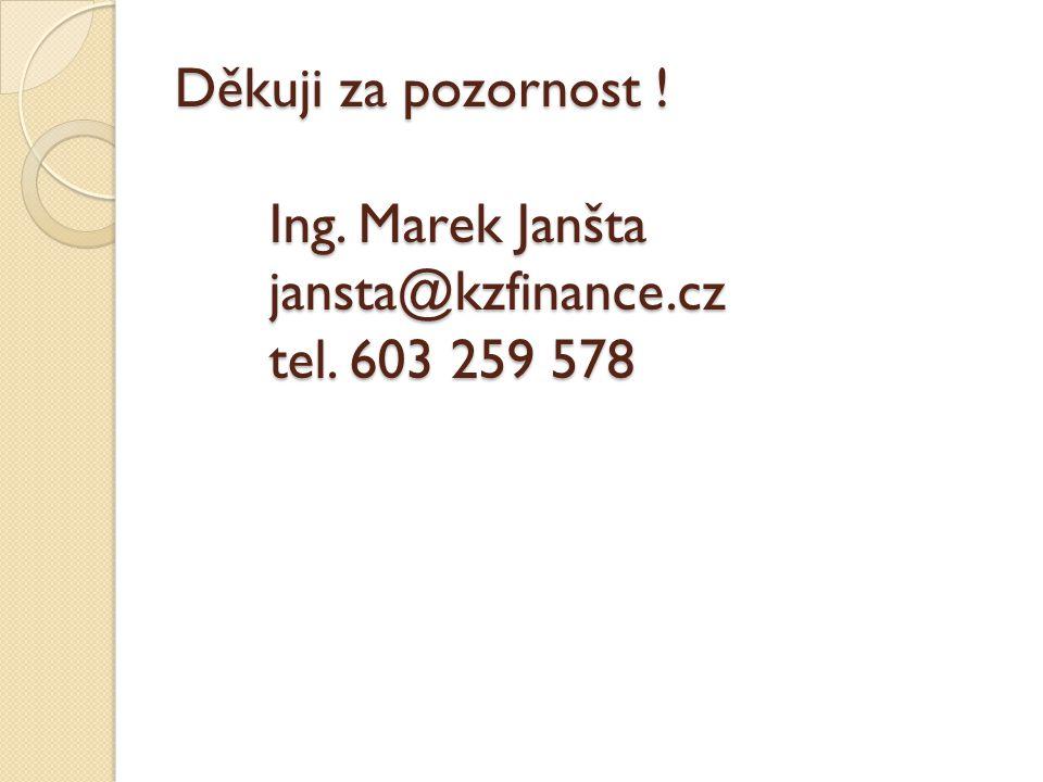Děkuji za pozornost. Ing. Marek Janšta jansta@kzfinance. cz tel