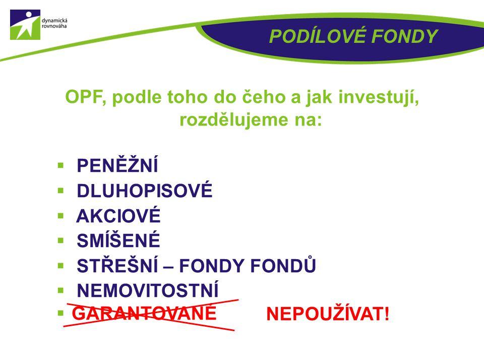 OPF, podle toho do čeho a jak investují, rozdělujeme na: