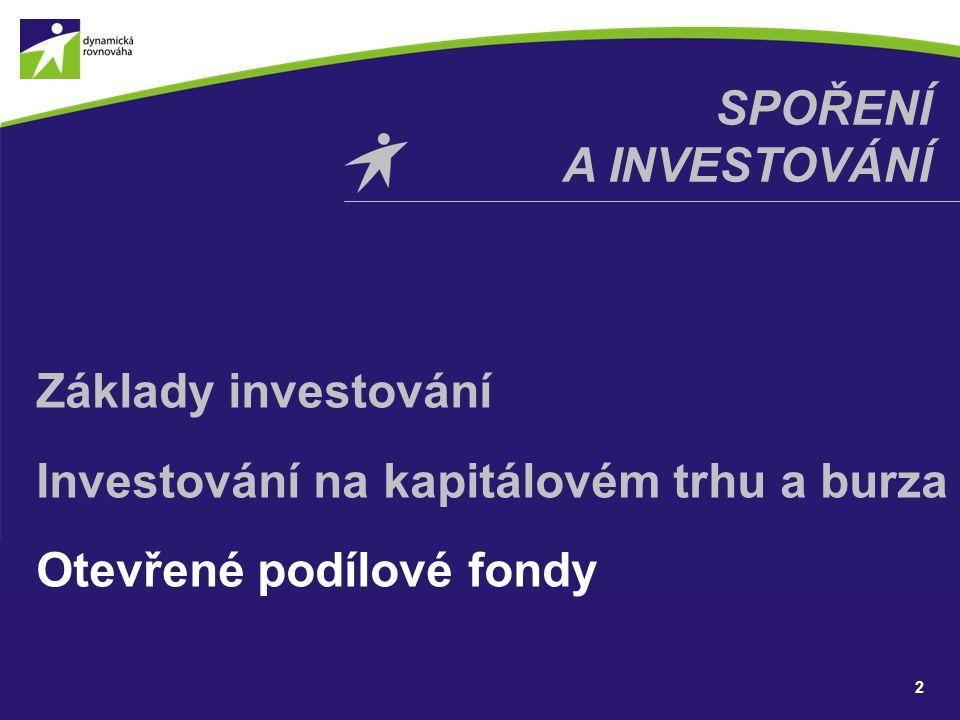 SPOŘENÍ A INVESTOVÁNÍ Základy investování Investování na kapitálovém trhu a burza Otevřené podílové fondy