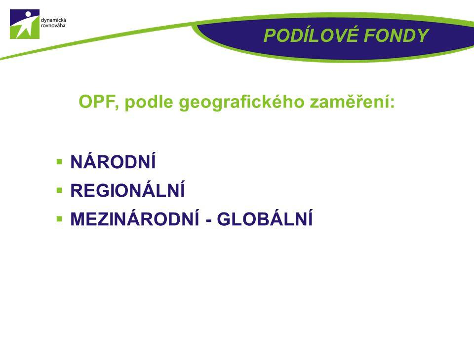 OPF, podle geografického zaměření: