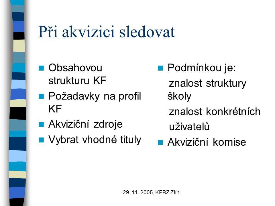 Při akvizici sledovat Obsahovou strukturu KF Požadavky na profil KF