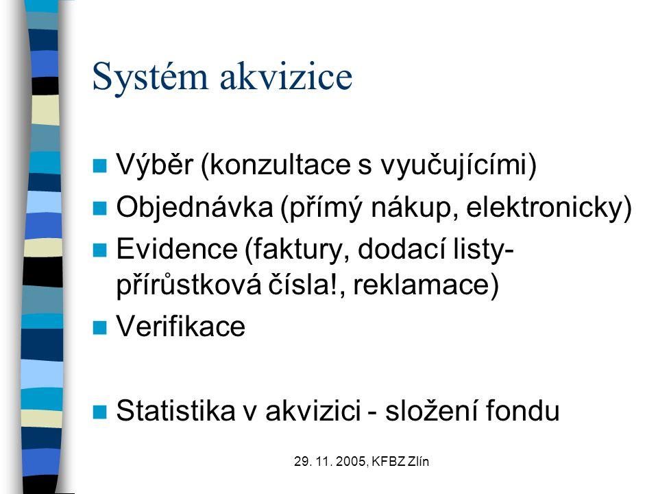Systém akvizice Výběr (konzultace s vyučujícími)