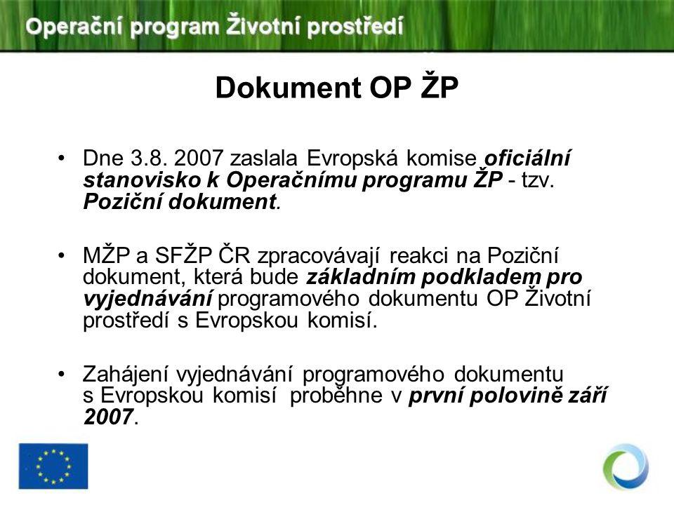 Dokument OP ŽP Dne 3.8. 2007 zaslala Evropská komise oficiální stanovisko k Operačnímu programu ŽP - tzv. Poziční dokument.