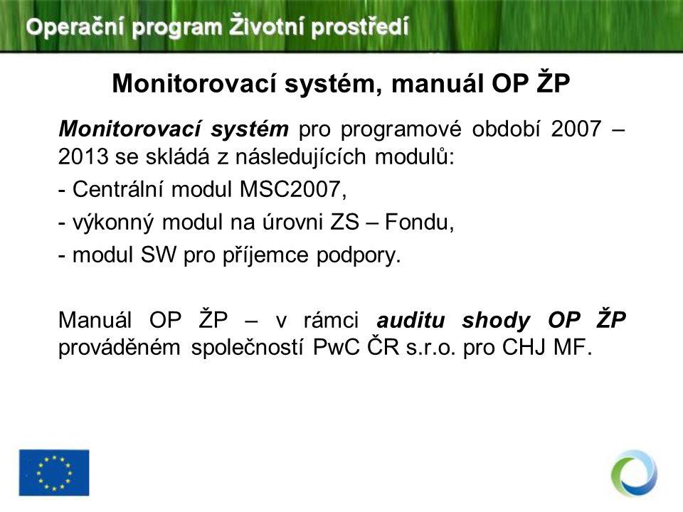 Monitorovací systém, manuál OP ŽP