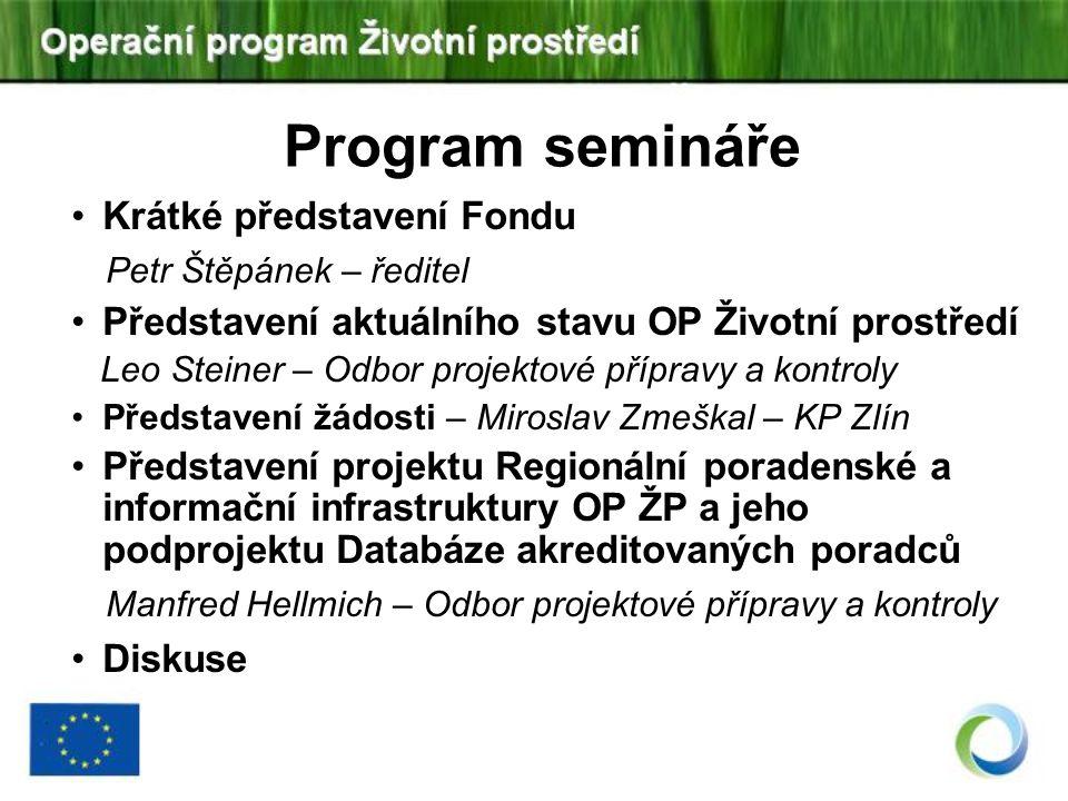 Program semináře Petr Štěpánek – ředitel