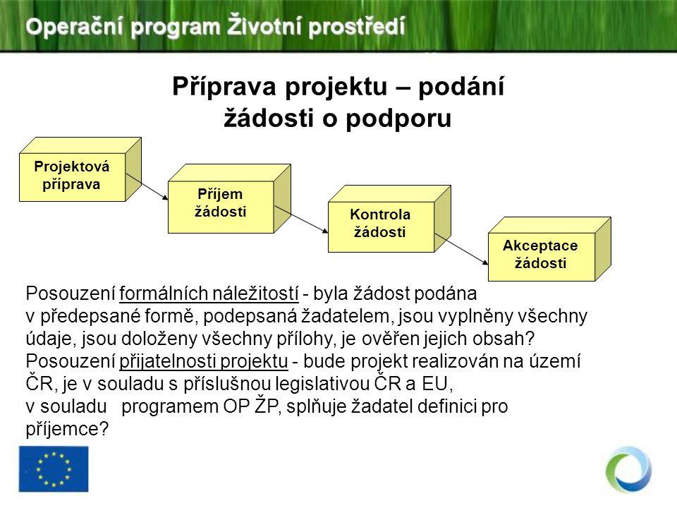 Příprava projektu – podání žádosti o podporu