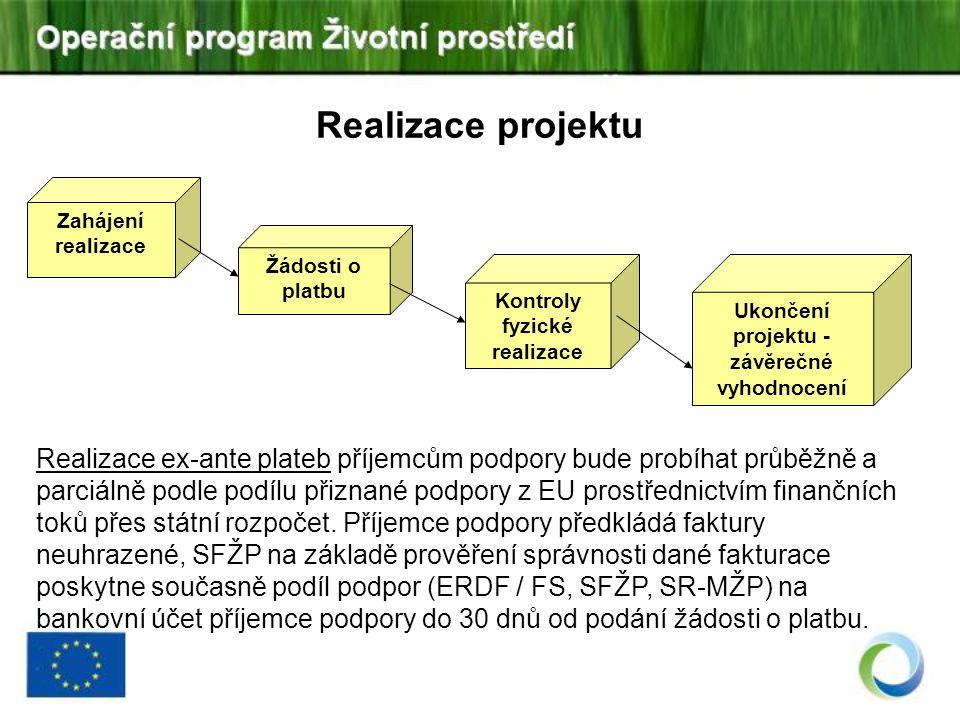 Kontroly fyzické realizace Ukončení projektu - závěrečné vyhodnocení