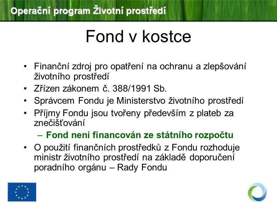 Fond v kostce Finanční zdroj pro opatření na ochranu a zlepšování životního prostředí. Zřízen zákonem č. 388/1991 Sb.