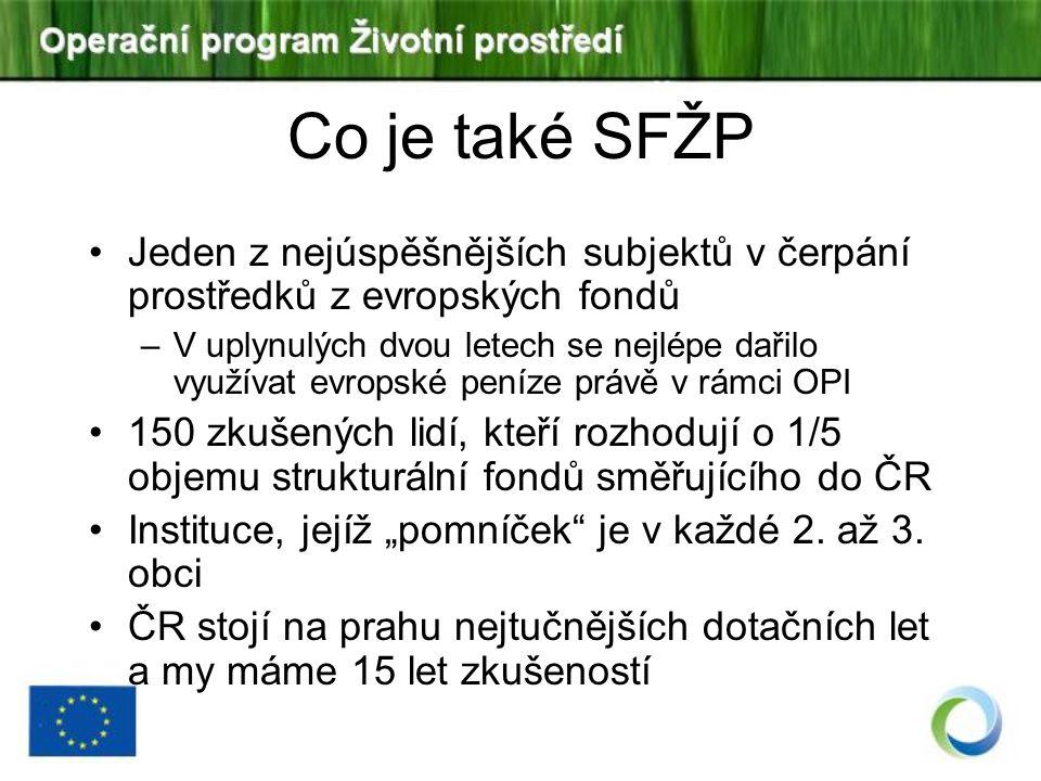 Co je také SFŽP Jeden z nejúspěšnějších subjektů v čerpání prostředků z evropských fondů.