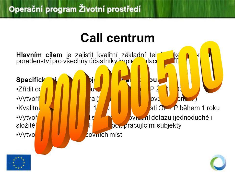 Call centrum 800 260 500. Hlavním cílem je zajistit kvalitní základní telefonické a e-mailové poradenství pro všechny účastníky implementace OP ŽP.