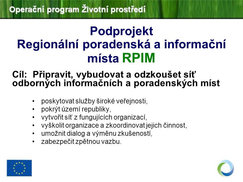 Podprojekt Regionální poradenská a informační místa RPIM