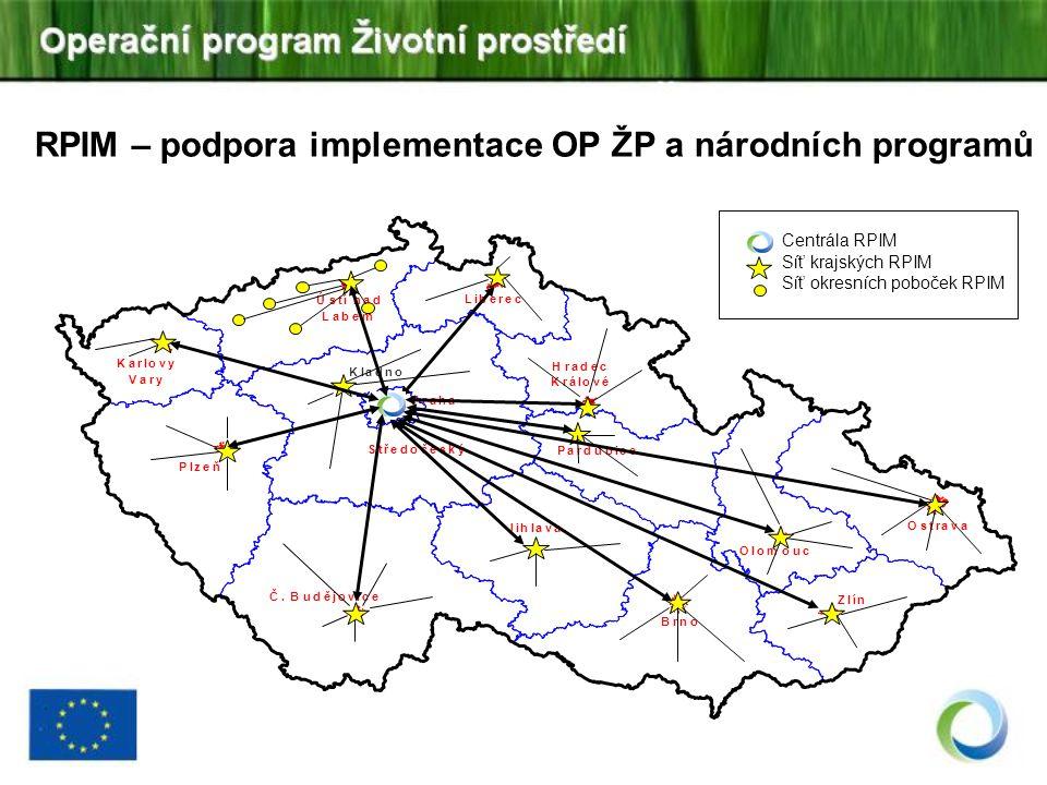 RPIM – podpora implementace OP ŽP a národních programů