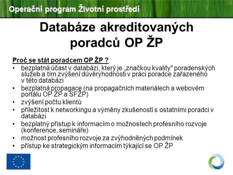 Databáze akreditovaných poradců OP ŽP