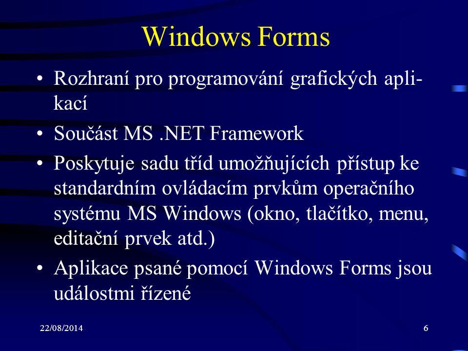 Windows Forms Rozhraní pro programování grafických apli-kací