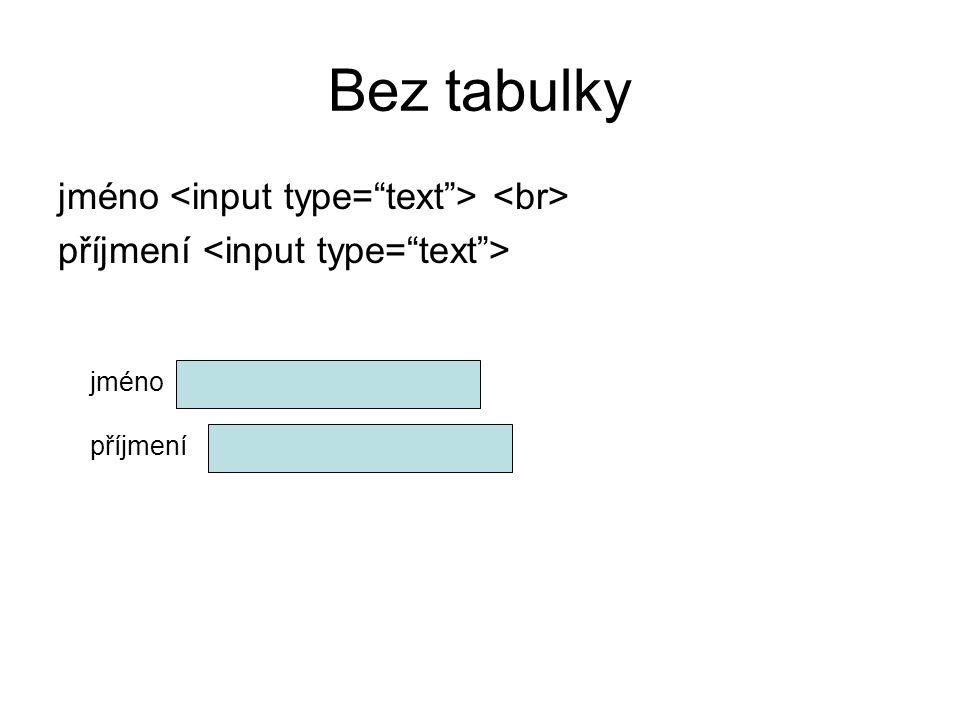 Bez tabulky jméno <input type= text > <br>
