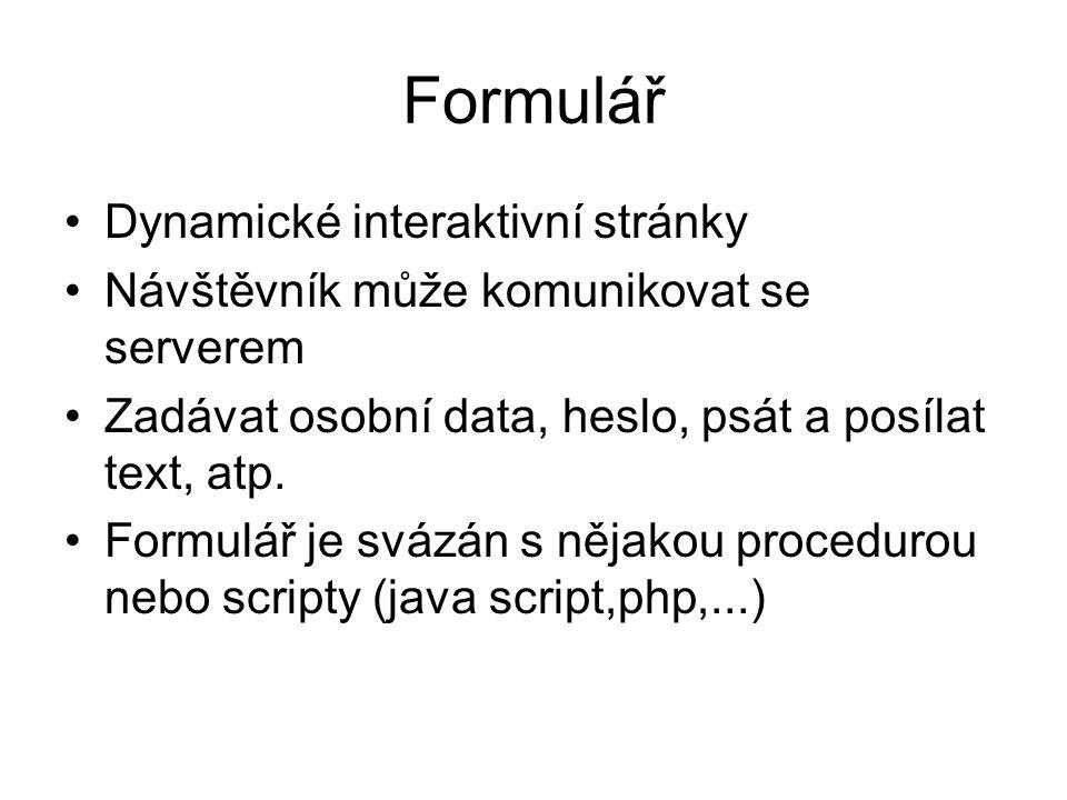 Formulář Dynamické interaktivní stránky