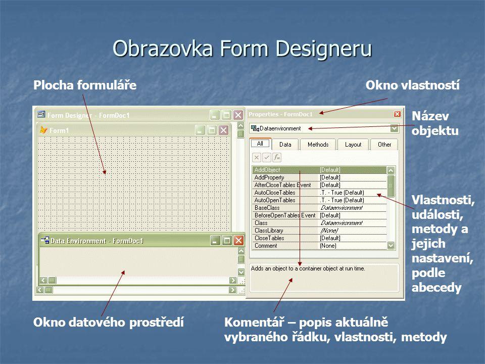 Obrazovka Form Designeru