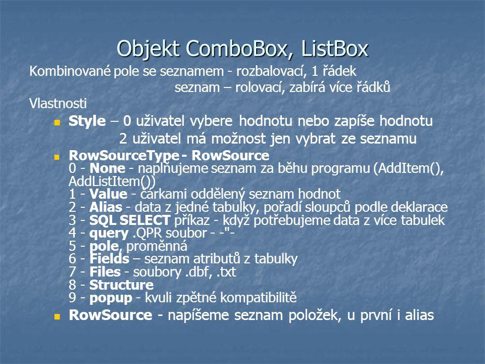 Objekt ComboBox, ListBox