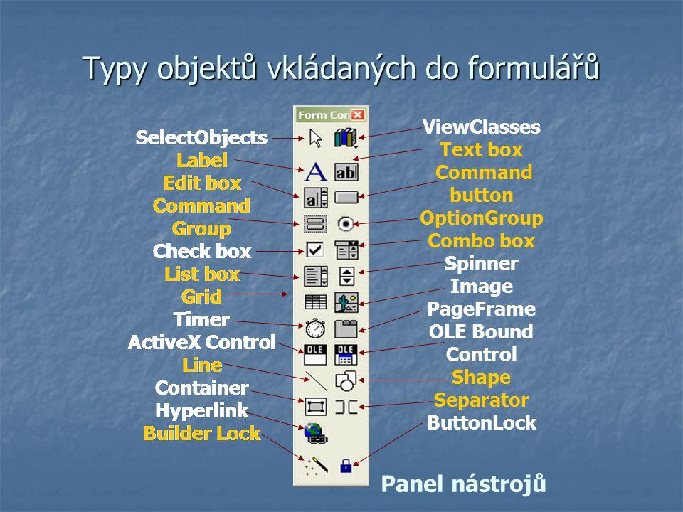 Typy objektů vkládaných do formulářů