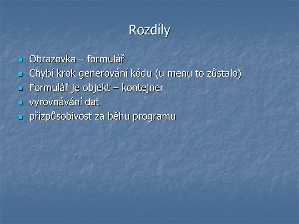 Rozdíly Obrazovka – formulář