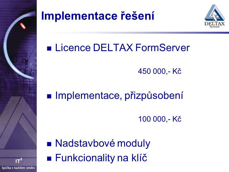 Implementace řešení Licence DELTAX FormServer