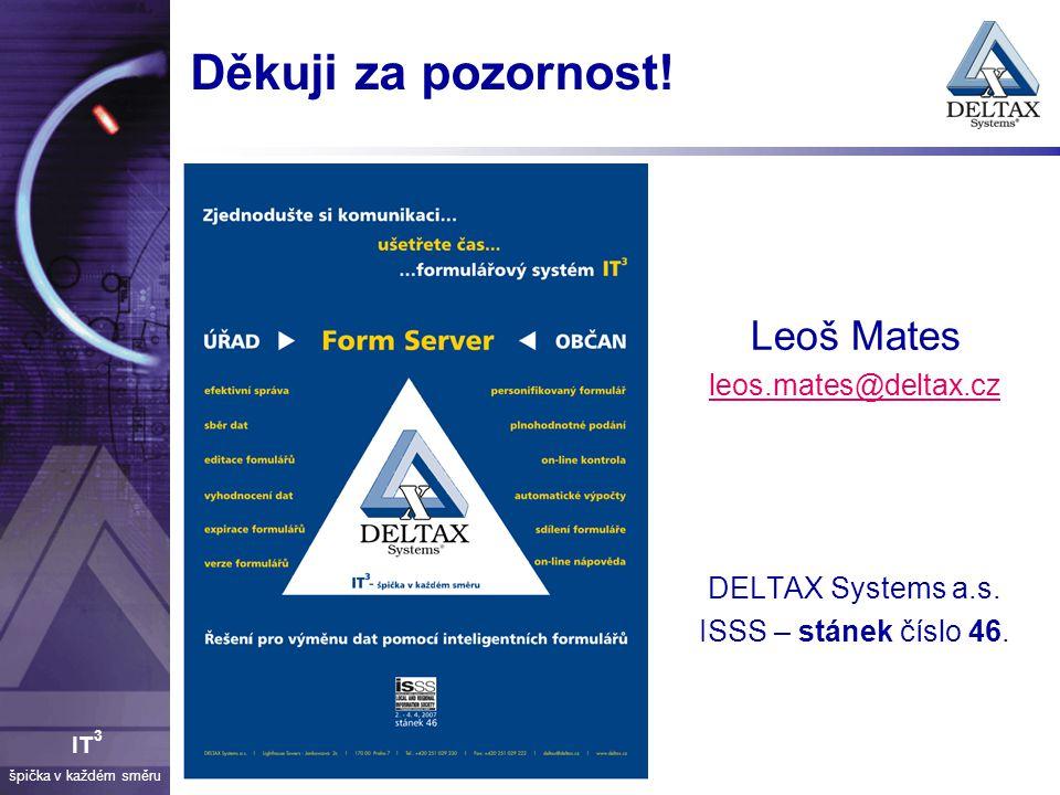 Děkuji za pozornost! Leoš Mates leos.mates@deltax.cz