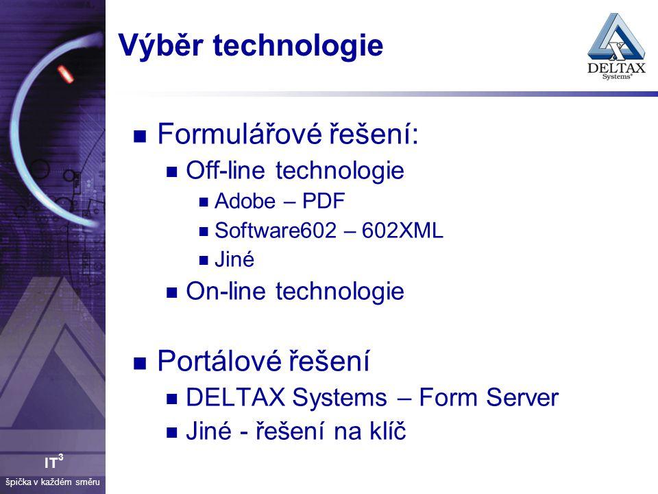 Výběr technologie Formulářové řešení: Portálové řešení