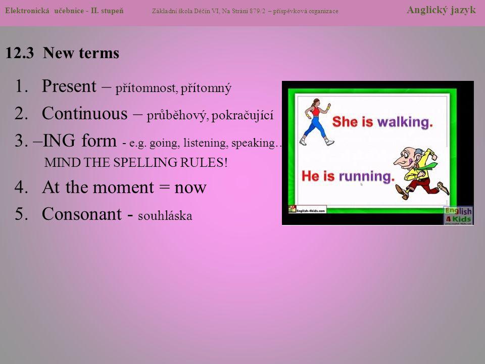 Present – přítomnost, přítomný Continuous – průběhový, pokračující