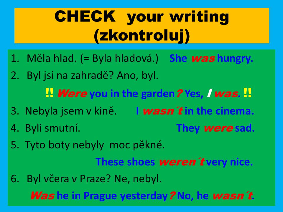 CHECK your writing (zkontroluj)