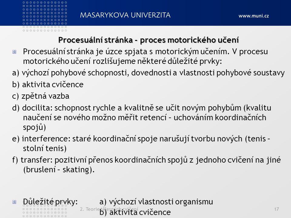 Procesuální stránka - proces motorického učení