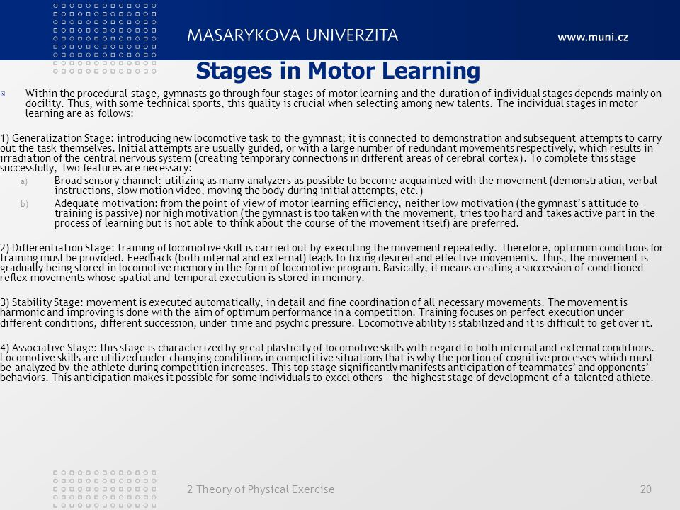 Stages in Motor Learning